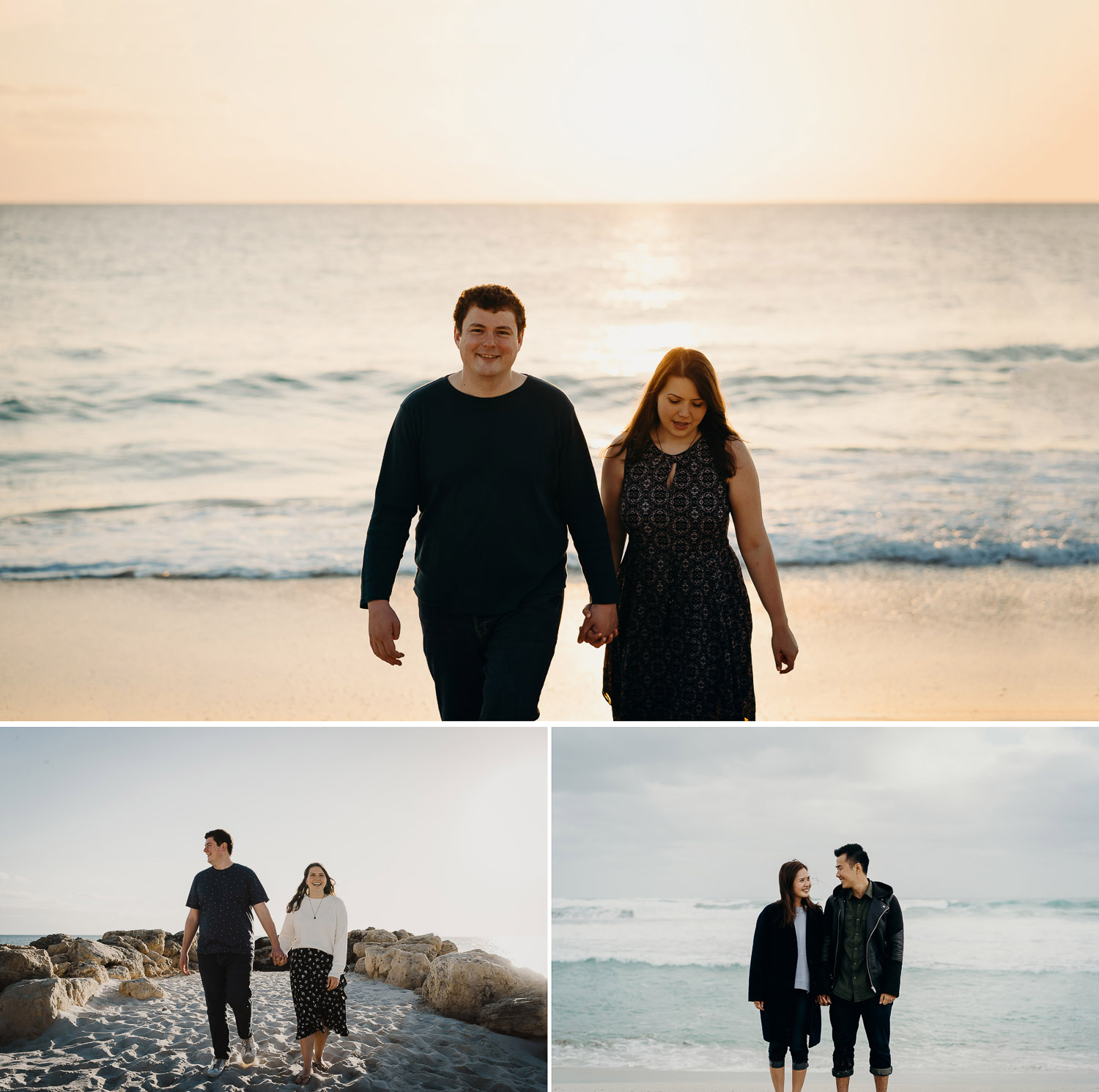 Casual prewed and engagement shoot on beach, photoshoot during sunset on beach, couple photoshoot on beach, couple holding hands on beach during sunset
