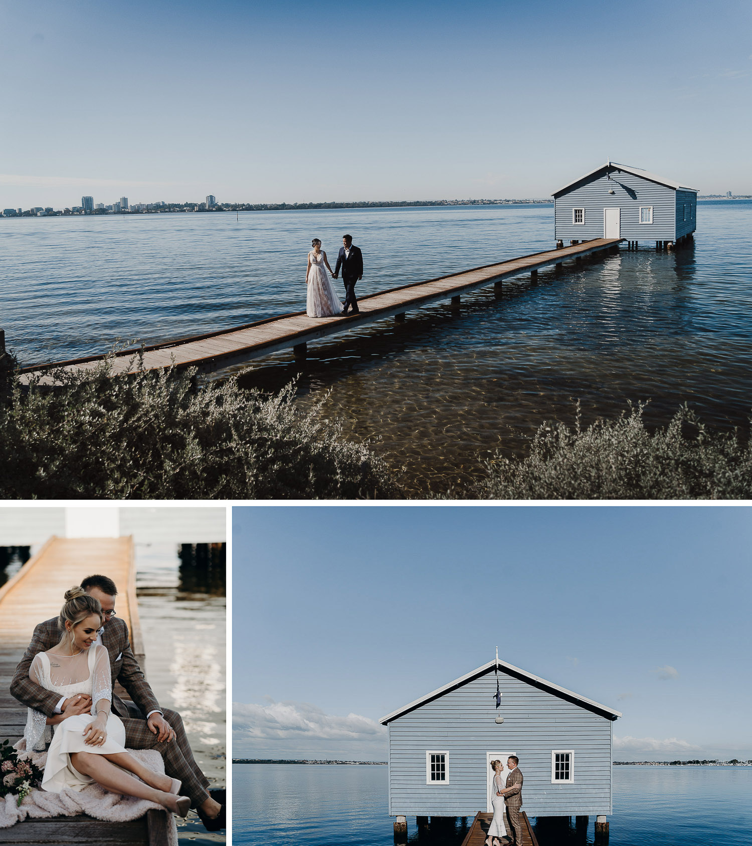Casual photoshoot at blue boat house, couple prewed and engagement shoot at blue boat house, couple in gown and suit at blue boat house, couple sitting at blue boat house