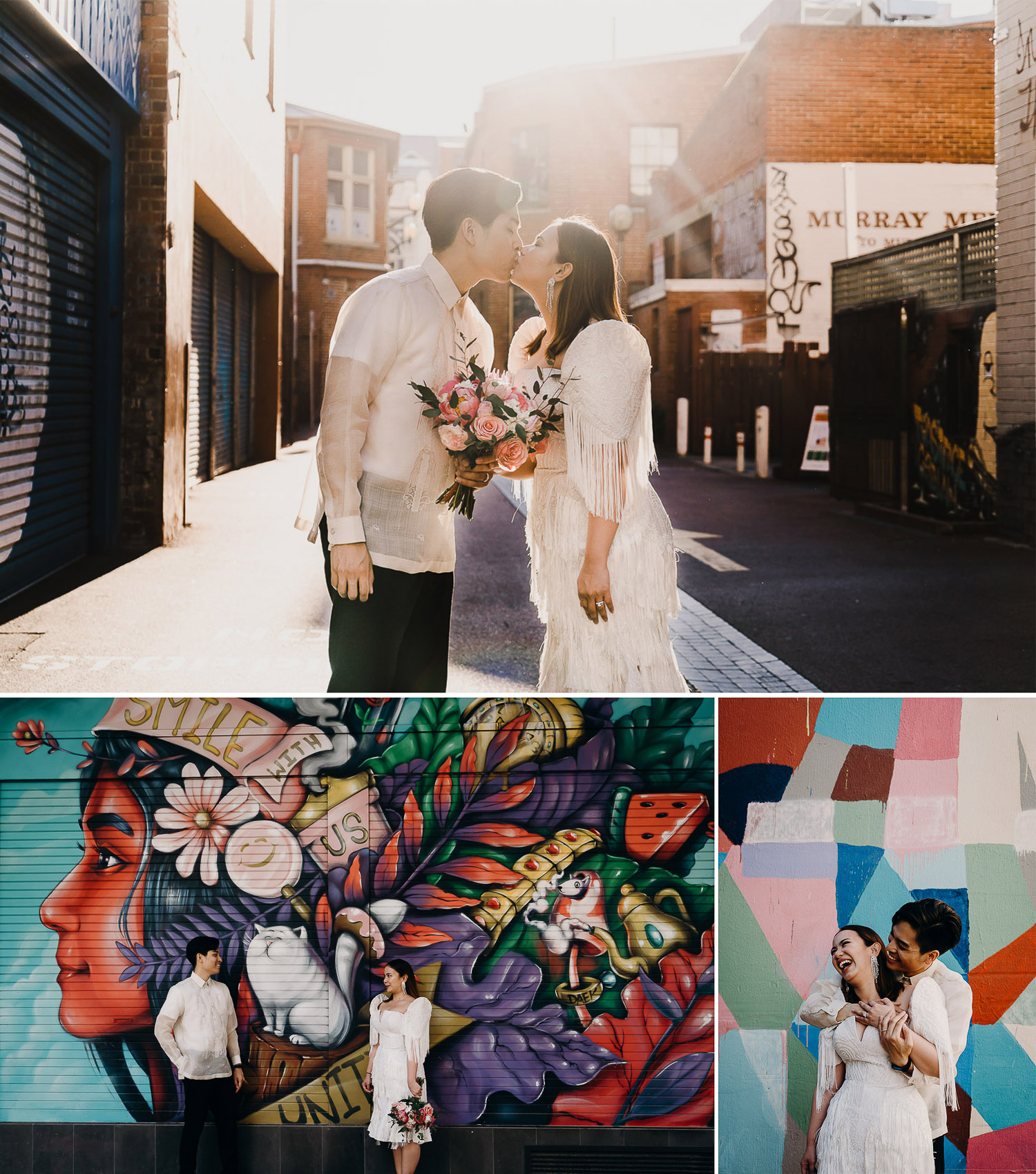 Couple prewed and engagement shoot in Perth city streets, photoshoot in front of graffiti wall, casual photoshoot in perth city