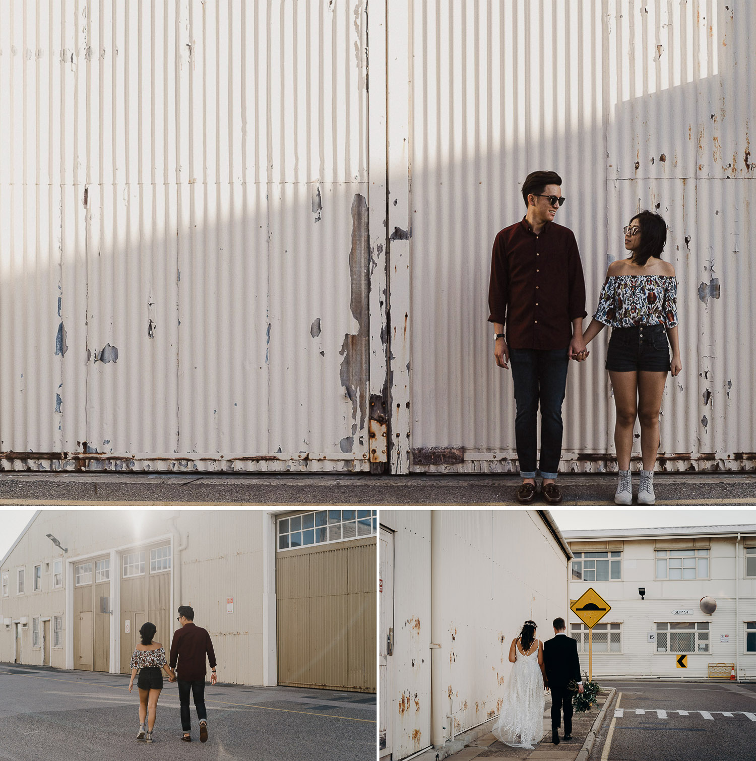 Casual prewed and engagement photoshoot, couple in shades, couple in sunglasses, couple in gown and suit in industrial backdrop