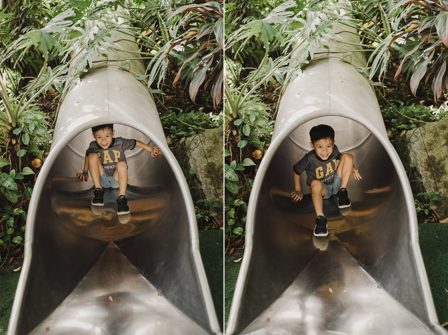gardens by the bay, Singapore, family shoot, family portrait, boy, slide, playground