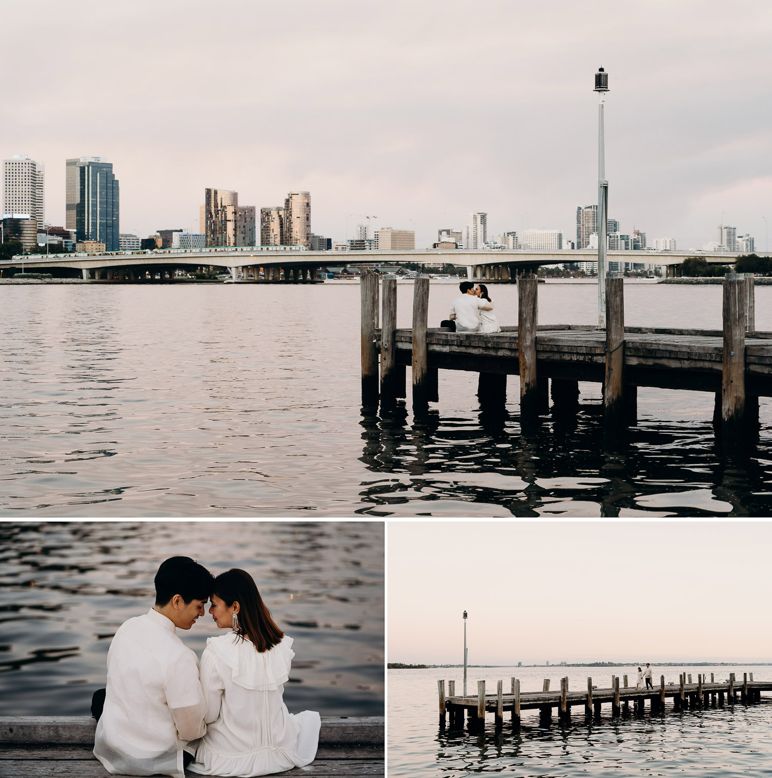 Couple photoshoot at jetty, casual prewed and engagement shoot at jetty, couple sitting on jetty, couple sitting by the water, couple kissing near the water, couple kissing on the jetty, couple photoshoot in perth jetty, photoshoot at jetty overlooking water, jetty with buildings