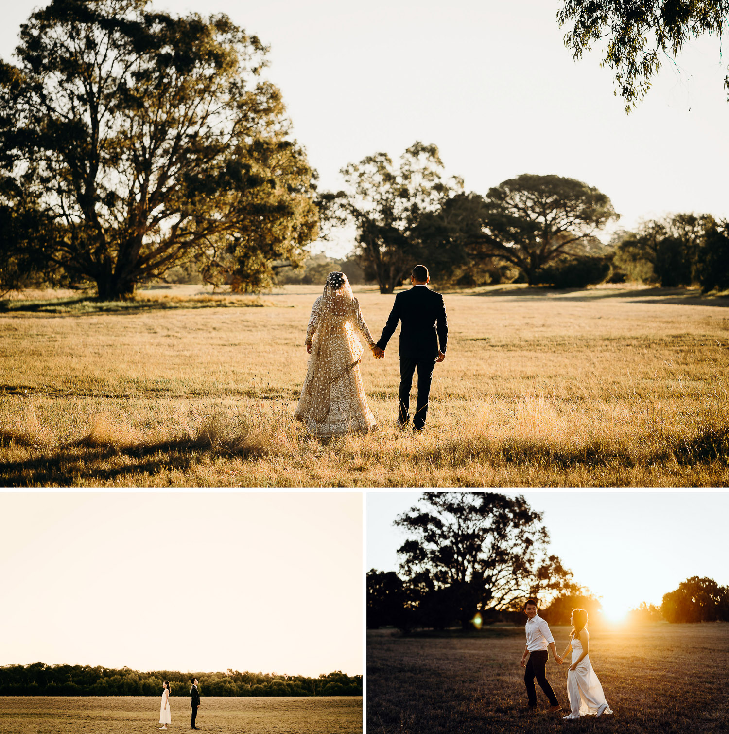 Couple prewed and engagement photoshoot in open field, sunset in open field, boy and girl in open field, photoshoot during sunset in open field, couple in gown and suit in open field