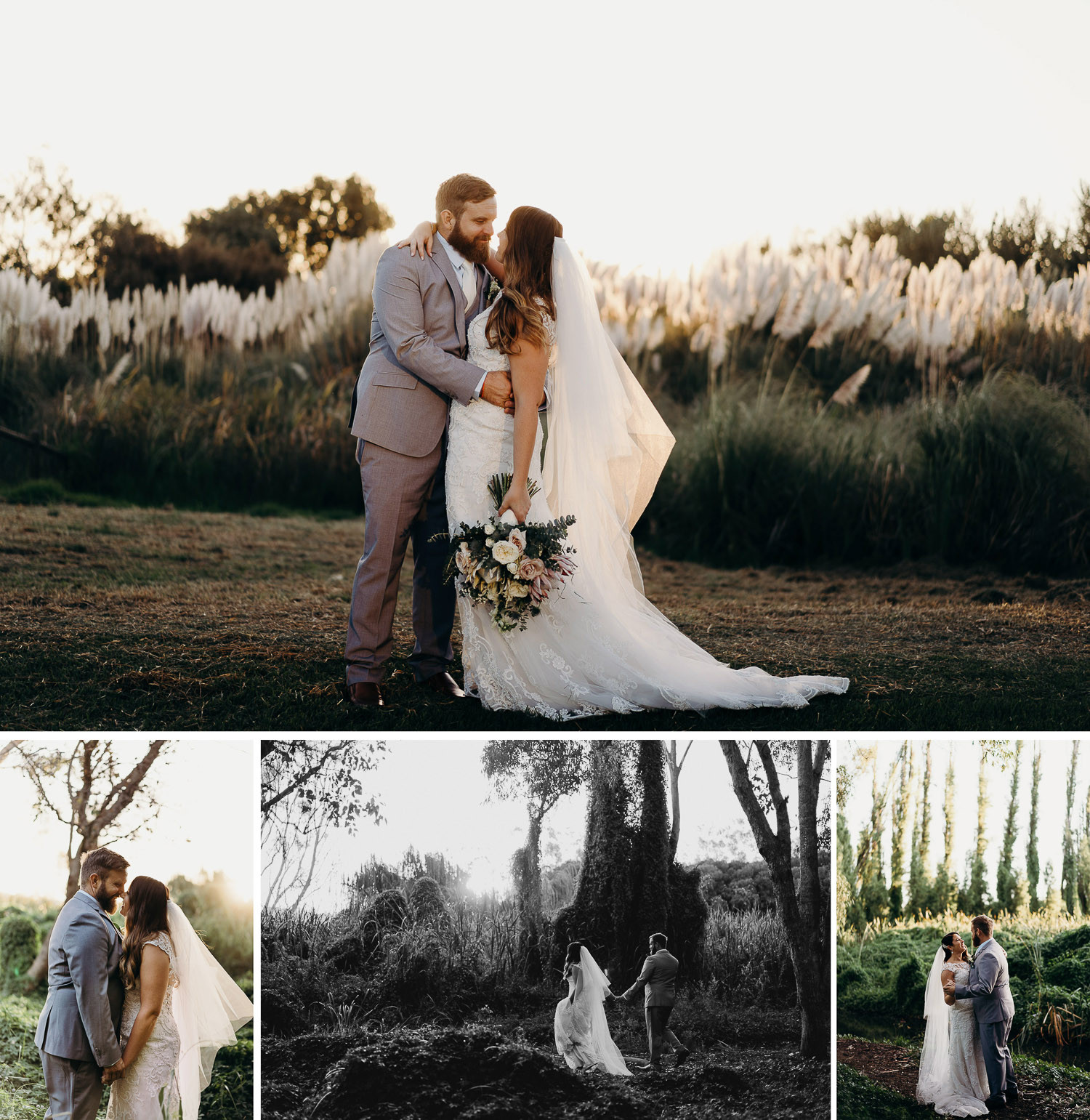 Couple photoshoot at a park, couple prewed and engagement shoot at a park, couple in suit and gown in park, couple holding a bouquet in a park, couple walking among trees, couple photoshoot among trees