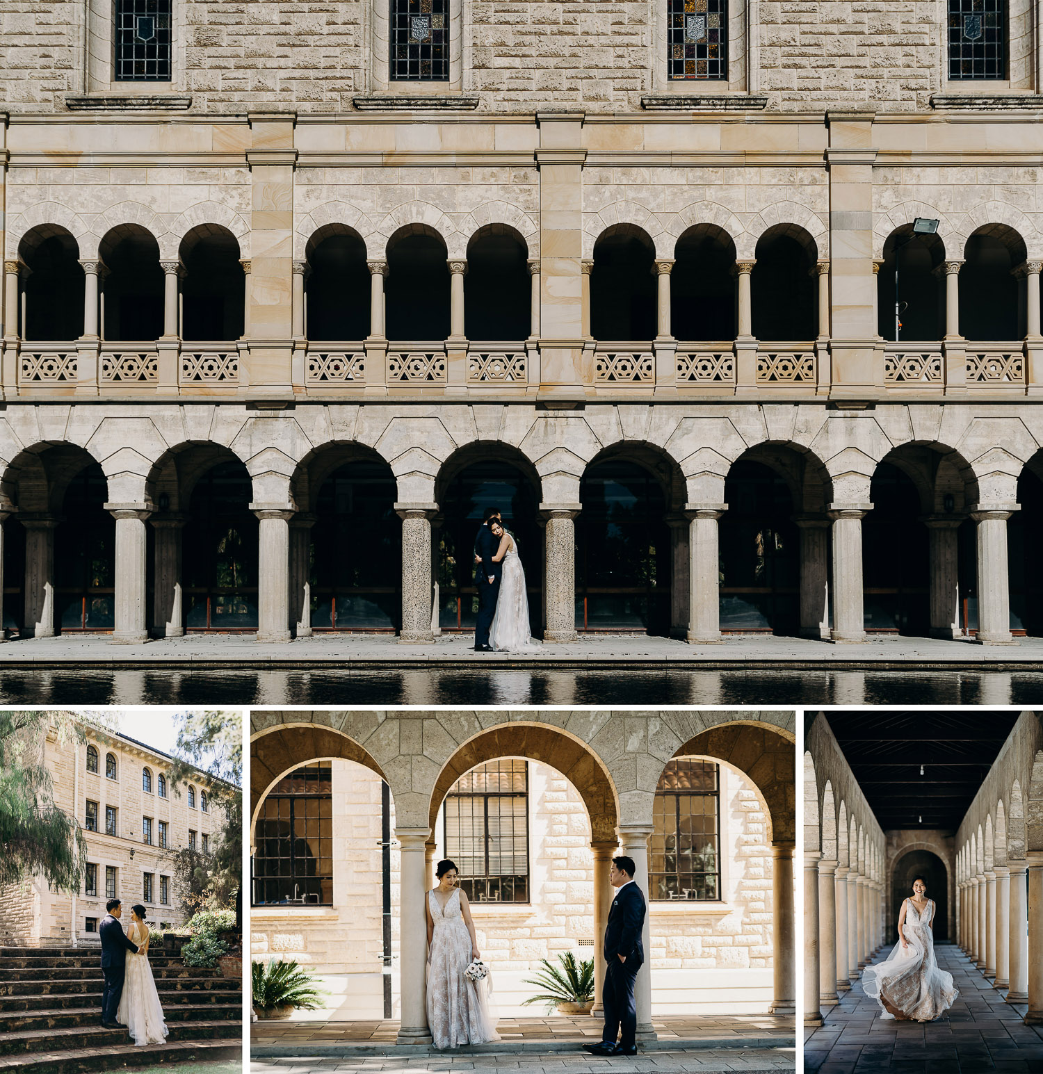 UWA prewed and engagement photoshoot with couple in gown and suit, casual prewed photoshoot in UWA