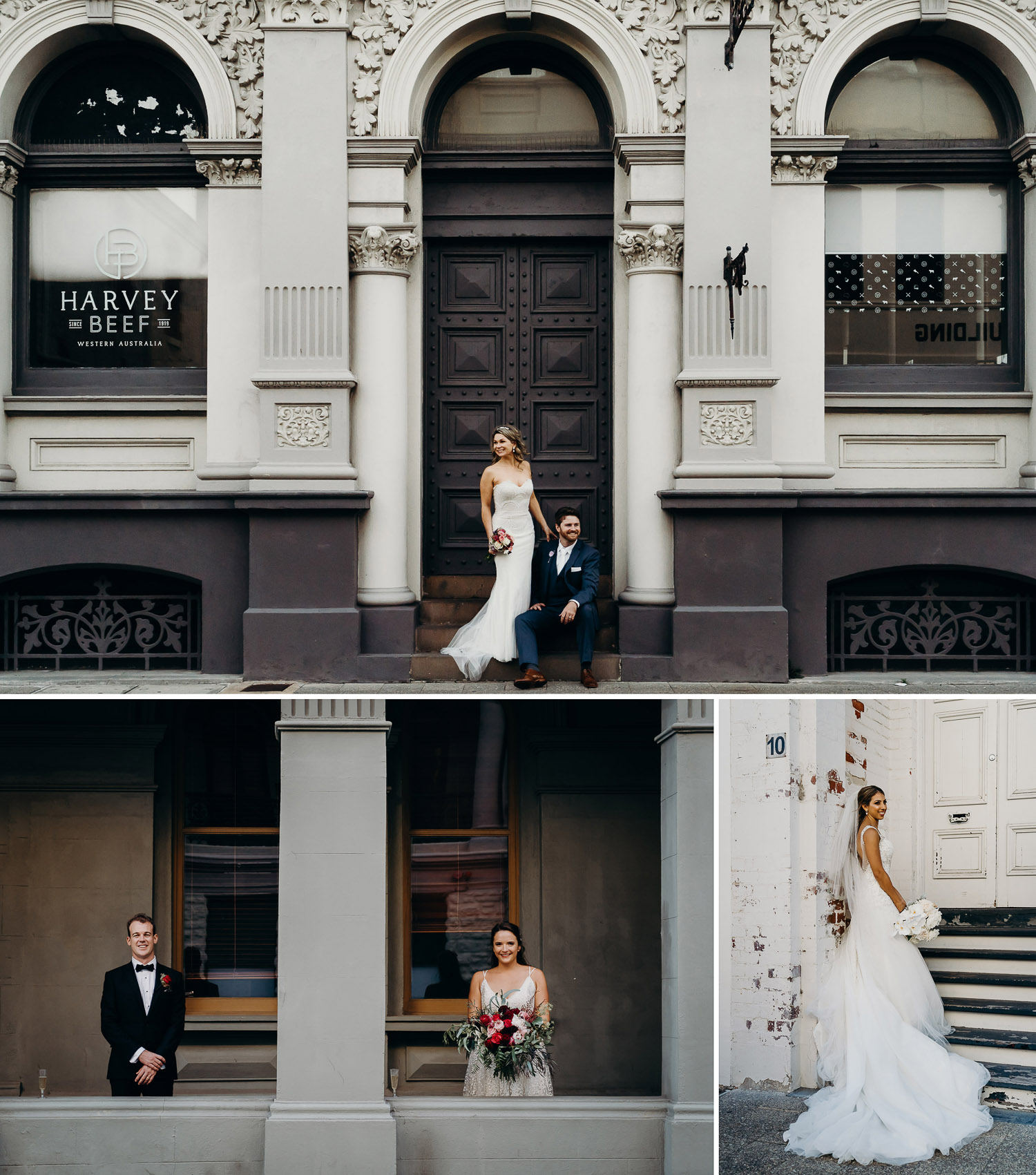 Couple photoshoot at harvey beef, couple prewed and engagement photoshoot, couple photoshoot in the city, couple photoshoot in perth, couple photoshoot on steps, couple photoshoot in gown and suit in perth